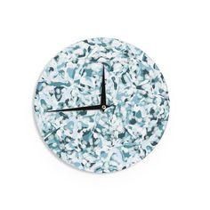 """Kess InHouse Angelo Cerantola Waterflowers"""" Blue Digital Wall Clock 12"""" (Waterflowers) (Wood)"""