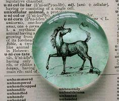 Lucky Unicorn jumbo glass magnet, by CrowBiz $5.50   Believe!