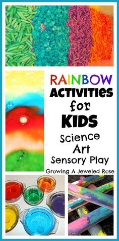Rainbow Activities for Kids- Science, Art, & Sensory Play. Repinned by playwithjoy.com. For more sensory pins visit pinterest.com/playwithjoy