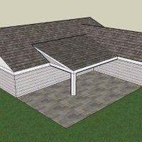 Porch Roof L-shape Construction-Resource photo PorchRoofL-Shaperoof.jpg Porch Roof L-shape Construct Steel Pergola, Pergola With Roof, Pergola Shade, Patio Roof, Pergola Patio, Pergola Plans, Backyard Patio, Pergola Ideas, Patio Ideas