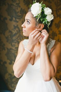 Floral Arrangement Bridal Hairstyle | ONELOVE PHOTOGRAPHY | BRITTANY SULLIVAN | HAYLEY PAIGE | http://knot.ly/6498B0aaa | http://knot.ly/6499B0aax