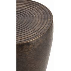 Furniture: Clint Side Table (#2034). This iron drum shaped side table features an antique bronze finish and repousse ringed detail on the top surface. Coordinates with Clint coffee table #4007.