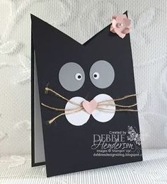 Debbie's Designs: Kitty Cat Card for Kaitlynn's Teacher with directions included. Bday Cards, Cat Birthday Cards, Origami Birthday Card, Punch Art Cards, Shaped Cards, Animal Cards, Halloween Cards, Kids Cards, Creative Cards