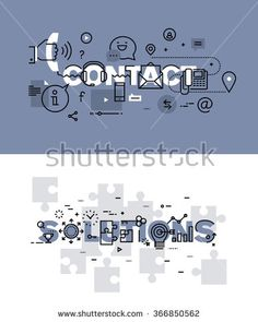 Set of modern vector illustration concepts of words contact and solutions. Thin line flat design banners for website and mobile website, easy to use and highly customizable. - stock vector