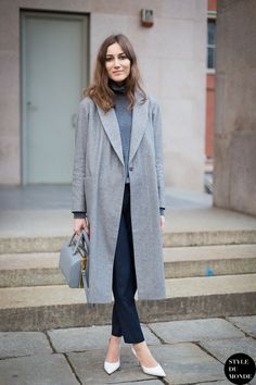 gray coat with classic outfit