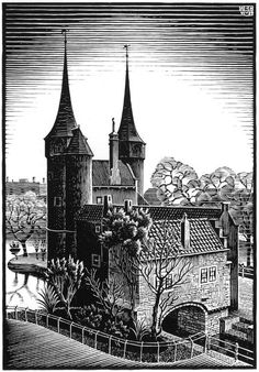 Delft: Oostpoort, woodcut by M.C. Escher, 1939