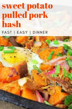 Use leftover pulled pork to make this sweet potato pulled pork hash. One of my favorite dishes - I always make extra pulled pork with this recipe in mind.