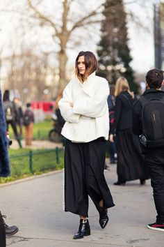 .black culottes and white coat