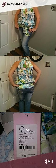 Lilly Pulitzer Size 6 New Dressy Silk Top Antoinette Top via blue belle villa. So so cute. Can be worn with jeans or dress pants or even a skirt. This top is so versatile. 94% Silk 6% Spandex. Lilly Pulitzer Tops Blouses