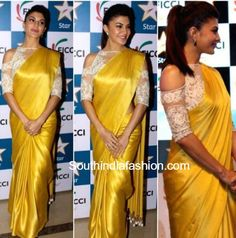 Jacqueline Fernandez in Manish Malhotra yellow saree cold shoulder blouse ficci Indian Attire, Indian Ethnic Wear, Indian Outfits, Jacqueline Fernandez, Indian Blouse, Indian Sarees, Cold Shoulder Saree Blouse, Saree Jacket Designs, Grey Saree