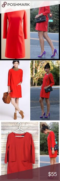 """j. crew // wool twill jules shift dress in red Let's hear it for Jules, one of the biggest multitaskers in our closet and quite possibly the most flattering dress we've ever slipped into. Praised for her easy, looks-good-on-everyone shift silhouette—we gave her a cold weather friendly update in refined wool twill. Finished with dart detailing at the bust and hidden front pockets. Bracelet sleeves. Back zip. Partially lined. Excellent preowned condition. 34"""" long from top of shoulder. Bust is…"""