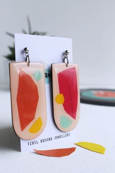 *new* off (slight second) fab & quirky mixed media upcycled vinyl record earrings Eco Resin, Resin Coating, Handmade Accessories, Signature Style, Sustainable Fashion, Vinyl Records, Upcycle, Mixed Media, Coin Purse