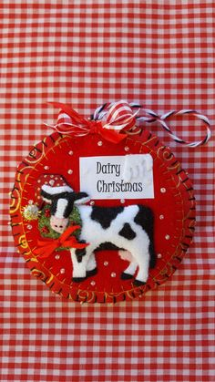 Christmas cow felt and fabric by DebsArtsyEnchantment on Etsy