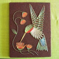 String Art hummingbird and flowers by vintagedame on Etsy
