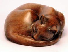 Резьба по дереву производитель не известны Гладкая и хорошо сформированы резные кошка, свернувшись калачиком спать - 12 х 5 см 80-е - Вес : 0,225 кг