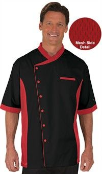 Men's Mesh Side Panel Chef coat - Snap Front Closure - 65/35 Poly/Cotton Fine Line Twill Style #  27718 #chefuniforms #chefcoats #men #cooking