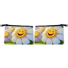 Rikki Knight Smiley Daisies Design Scuba Foam Coin Purse Wallet - unisex - Affordable gift for all occassions