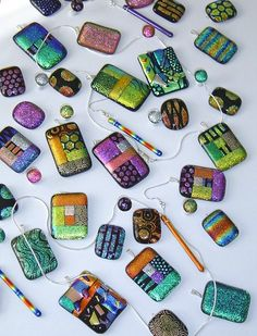 Beautiful dichroic glass pendants