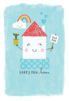 New Home Cards, House Of Cards, Happy Birthday Floral, Birthday Wishes, Congratulations Quotes, Housewarming Card, Happy New Home, Christmas Drawing, Paperchase