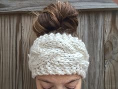 Cream Chunky Cable Knit Headband by OliveBegonia on Etsy