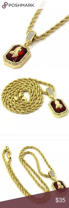 Gold Plated Ruby Praying Hands 24 inch Chain I have multiple of these necklaces! Accessories Jewelry