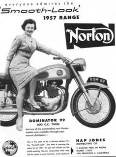 """grandma drives Norton of course... :-)  the """"girl"""" on the bike are maybe 30, but looks like she's 103 :-)"""