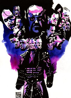 """All of the Undertaker's Wrestlemania appearances l Ink and watercolor on 9"""" x 12"""" watercolor paper l #WWE"""