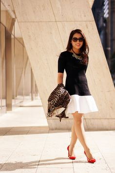 Petite Look of the Week: @Christine Ballisty spices up classic monochrome outfit with red and leopard