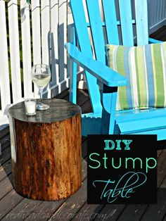 DIY Stump Table--Looking for a wide and slightly tall stump to make into a table for the front porch. Outdoor Spaces, Outdoor Chairs, Outdoor Living, Outdoor Decor, End Tables, A Table, Growing Ginger Indoors, Tree Stump Table, Tree Stumps