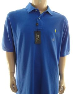 POLO RALPH LAUREN $98 NEW BLUE Big & Tall MESH POLO SHIRT L LT #PoloRalphLauren #PoloRugby