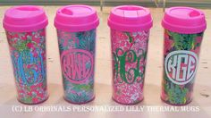 Personalized Lilly Pulitzer Thermal Mugs. Preppy Paper Girl, via Etsy. I want one of these!