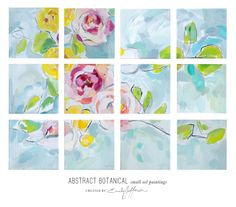 ABSTRACT BOTANICAL small oil paintings BY EMILY JEFFORDS