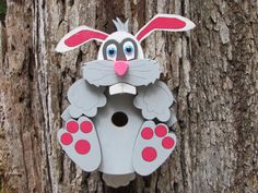 Sir Wally Wabbit Birdhouse by CraftedCritters on Etsy, $55.00
