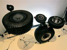 Speakers made from tires, configured like a drum kit. From MONDOBLOGO