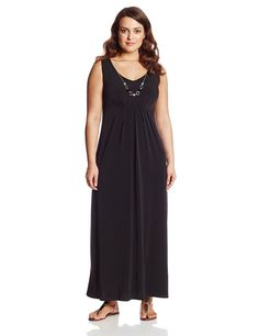 77b2b0422ab6d Notations Women s Plus-Size Sleeveless Solid Maxi Dress with Necklace     Insider s special review you can t miss. Read more   Clothing for Plus size