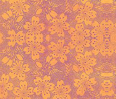 (I think this would look great in the inverse...yellow dots on blue ground.)Floral 1 fabric by paulamarie on Spoonflower - custom fabric