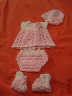 dress : baby girl set -free crochet pattern hat     :Spring lacy hat for baby girls booties: Shell stitch booties..like the outfit.. leave message  on my pinterest page. may custom make one for you