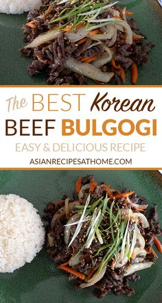 Best and Easiest Korean Beef Bulgogi - This is the best and easiest Korean beef bulgogi recipe. This bulgogi consists of thin slices of ribeye beef. It is marinated in our own very special homemade marinade, and then stir-fried to perfection. Get the full Beef Bulgogi Recipe, Korean Bulgogi, Bon Dessert, Vegetable Drinks, Healthy Eating Tips, Healthy Nutrition, Asian Recipes, Asian Foods, Asian Food Recipes