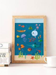 Sea nursery, Ocean nursery, Nursery art print, Under the sea, Ocean animal nursery, Sea animal print, Nursery wall print, Kids room art --------------- Cute print perfect to decorate your nursery! ▲ Printed on 270gsm satin, acid-free paper using professional printers, colors dont fade