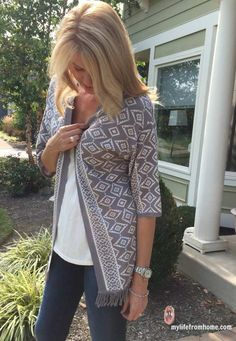 Stitch Fix: love the length and gray and white pattern. Skies are Blue Caine Fringe Open Cardigan