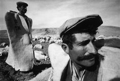 Ara Guler 1970: Two shepherds wearing the traditional felt capes against the cold Anatolian winds near their village of Divrigi in the plains near Siva, Central Anatolia