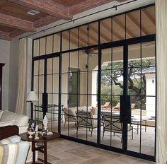 metal windows and doors Steel Doors And Windows, Iron Windows, Iron Doors, Black Windows, Patio Interior, Interior And Exterior, Interior Design, Interior Doors, Window Wall
