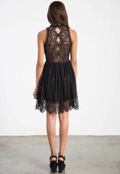Avery Lace High Collar Black Dress