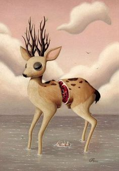 Artist: Ana Bagayan. a cute sliced in half, very unimpressed looking deer. :P ..hmm..doesn't sound so cute when you put it like that eh.