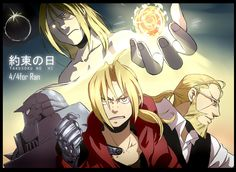 Fullmetal Alchemist - Ed, Al, Hohenheim, and Father/The Homunculus in the Flask on the Promised Day.