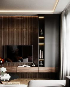 New ideas living room tv wall ideas tv decor shelves Tv Wall Design, Tv Unit Design, Tv Console Design, Tv Cabinet Design, Living Room Modern, Home Living Room, Modern Tv Wall, Contemporary Living Room Designs, Small Living