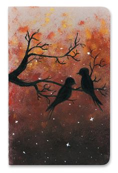 Bird in Trees Notebook Cover Gouache, Moose Art, Notebook, Trees, Birds, Watercolor, Cover, Illustration, Animals