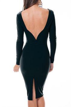 It Girl Plunge Back Midi Dress - Black