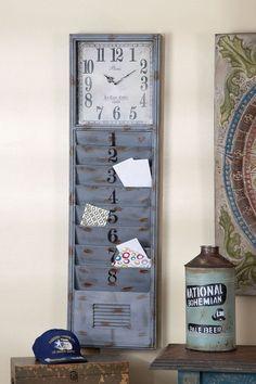 Metal Wall Clock & Organizer.