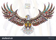 Patterned flying eagle on the watercolor background. African / indian / totem / tattoo design. It may be used for design of a t-shirt, bag, postcard, a poster and so on.